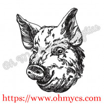 Sketch Pig Head Embroidery Design