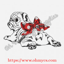 Sketch Pug Laying Embroidery Design
