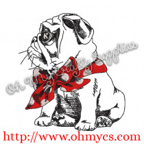 Sketch Pug with Scarf Embroidery Design