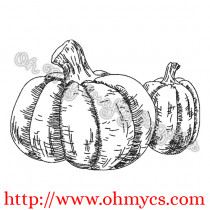 Sketch Pumpkin Pair Embroidery Design