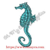 Sketch Seahorse Embroidery Design