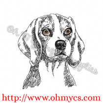 Sketch Beagle Embroidery Design