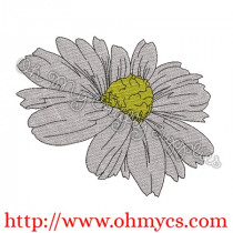 Sketch Filled Daisy Flower Embroidery Design