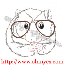 Sketched Hampster with glasses Embroidery design