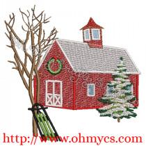 A Christmas Church Embroidery Design