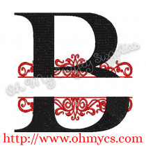 Split B Letter Embroidery Design