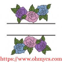 Split Floral Embroidery Design