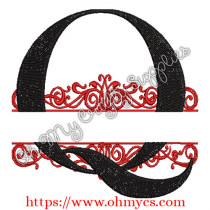 Q Split Letter Embroidery Design