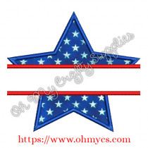 Split Star Applique Embroidery Design