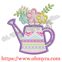 Spring Watering Can with Flowers Embroidery Design