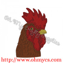 SS Rooster Head Embroidery Design