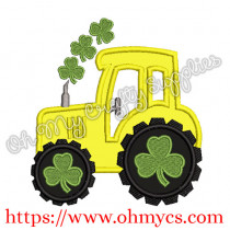 St. Patrick's Day Tractor Applique Design