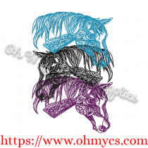 Stacked Horse Embroidery Design