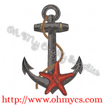 Starfish and Anchor Embroidery Design