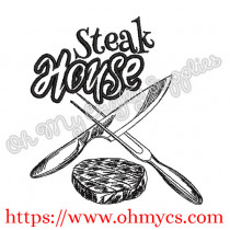 Steak House Sketch Embroidery Design
