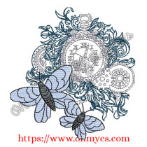 Steampunk Butterfly Clock Embroidery Design