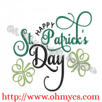 Fancy Happy St. Patrick's Day Embroidery Design