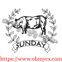 Farm Animal Weekdays Sketch Embroidery Design