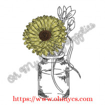 Sketch Sunflower Jar Embroidery Design