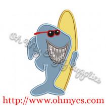 Surfer Shark Applique Design