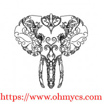 Swirly Elephant Drawing Embroidery Design