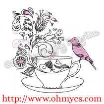 Swirly Bird Tea Cup Embroidery Design