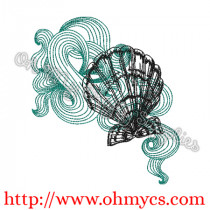 Swirly Sea Shells Sketch Embroidery Design