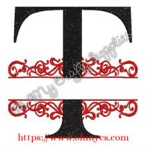 T Split Letter Embroidery Design