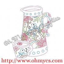 Teapot set embroidery design