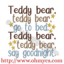 Teddy bear teddy bear say goodnight embroidery design