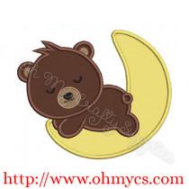 Teddy bear moon applique design