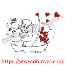Titanic Sheep Couple Embroidery Design
