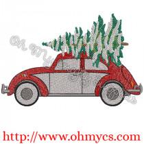 Christmas Tree Beetle Embroidery Design