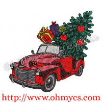 Solid Stitch Christmas Tree Truck Embroidery Design