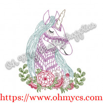 Unicorn with flower layout Embroidery Design