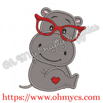 Valentine Hippo Applique Design