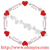 Valentine Monogram Circle Embroidery Design