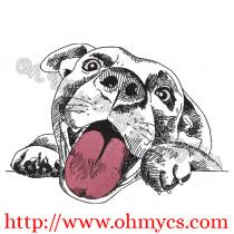 Very Happy Puppy Sketch Embroidery Design