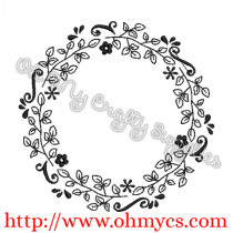 Vintage Monogram Wreath Embroidery Design