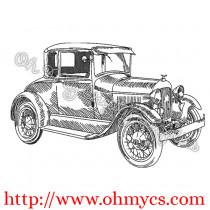 Old Vintage Car Sketch Embroidery Design