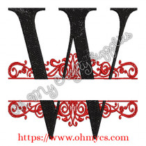 W Split Letter Embroidery Design