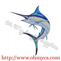 Watercolor Marlin Embroidery Design