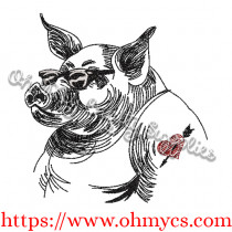 Wild Hog Sketch Embroidery Design