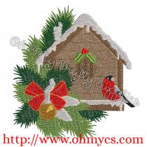 Snowy Bird House Embroidery Design