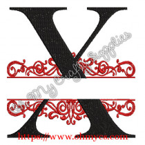 X Split Letter Embroidery Design