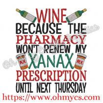 Xanax Prescription Embroidery Design