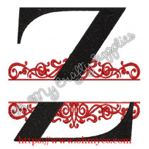 Z Split Letter Embroidery Design