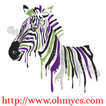Painted Zebra Embroidery Design