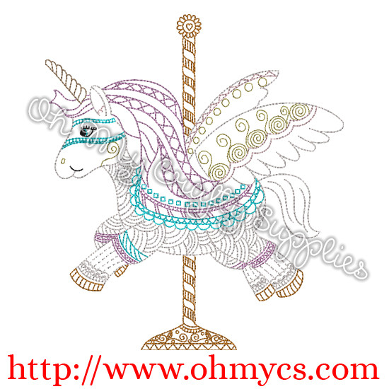 Carousal Unicorn Embroidery Design