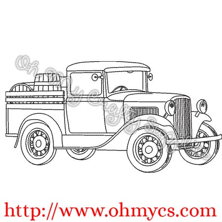 Sketch Old Wine Truck Embroidery Design